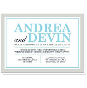 Aqua Navy Gray Winter Reception Only Invitations - Artistically Invited