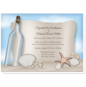 Message from a Bottle Beach Reception Only Invitations at Artistically Invited