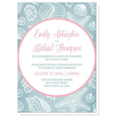 Blue Seashell Pink Beach Reception Only Invitations