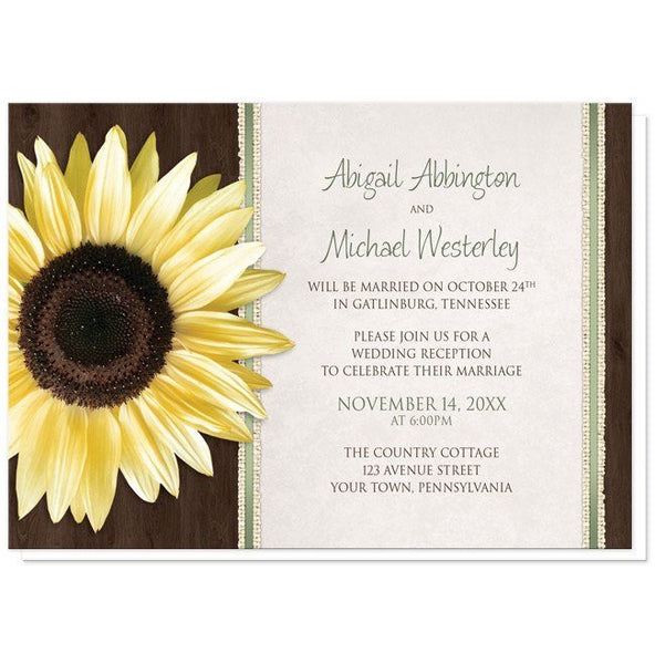 Country Sunflower Wood Brown Green Reception Only Invitations - Artistically Invited