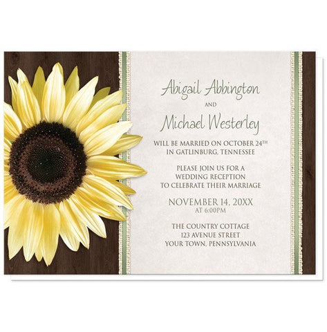 Invitations - Reception Only Invitations - Country Sunflower Wood Brown Green