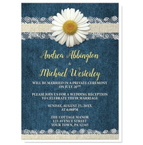 Invitations - Reception Only Invitations - Daisy Burlap And Lace Denim