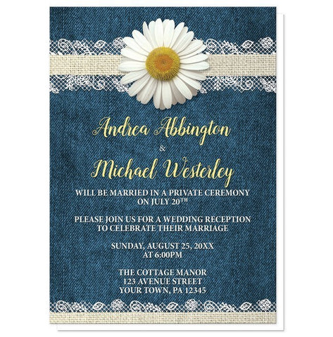 Daisy Burlap and Lace Denim Reception Only Invitations - Artistically Invited