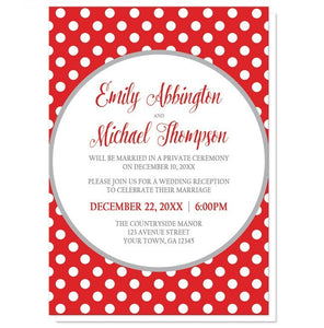 Gray and Red Polka Dot Reception Only Invitations - Artistically Invited