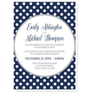 Gray Navy Blue Polka Dot Reception Only Invitations - Artistically Invited