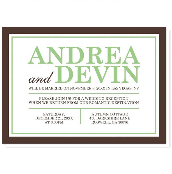 Green and Brown Reception Only Invitations - Artistically Invited