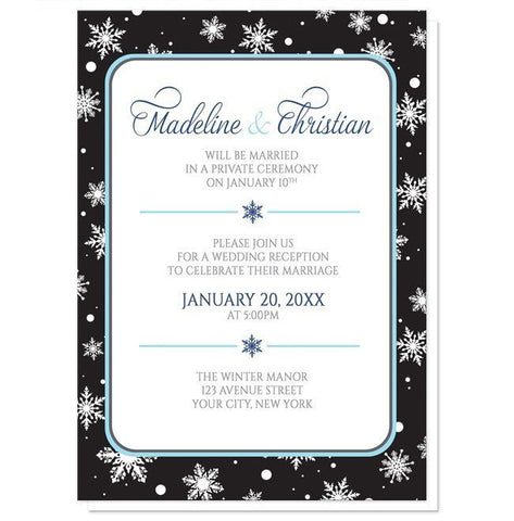 Midnight Snowflake Winter Reception Only Invitations - Artistically Invited