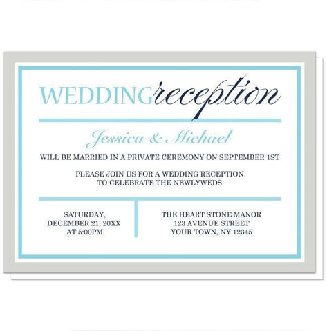 Modern Aqua Navy Gray Winter Reception Only Invitations - Artistically Invited