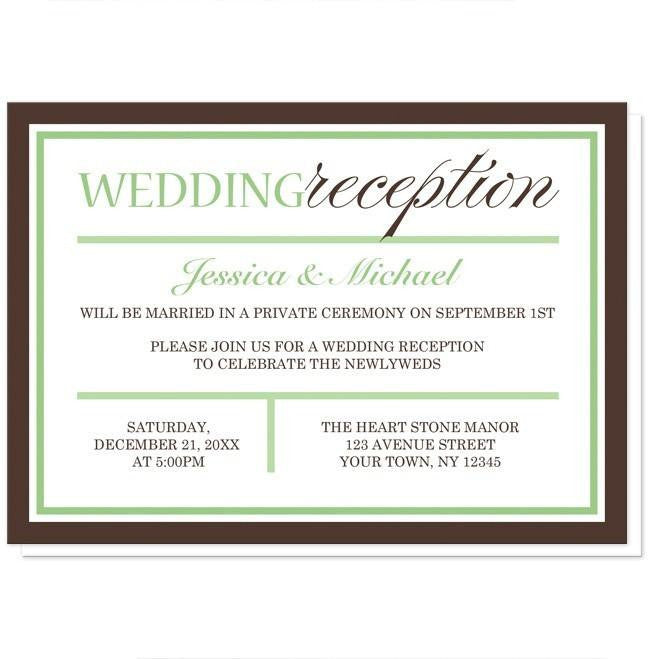 Modern Green and Brown Reception Only Invitations at  Artistically Invited