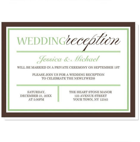 Modern Green and Brown Reception Only Invitations - Artistically Invited
