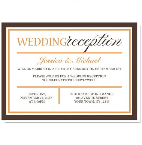 Modern Orange Brown Autumn Reception Only Invitations - Artistically Invited