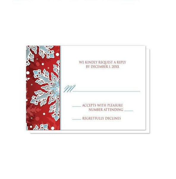 Invitations - Reception Only Invitations - Modern Red White Blue Snowflake
