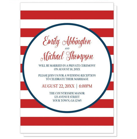 Navy Circle Red Stripe Nautical Reception Only Invitations - Artistically Invited