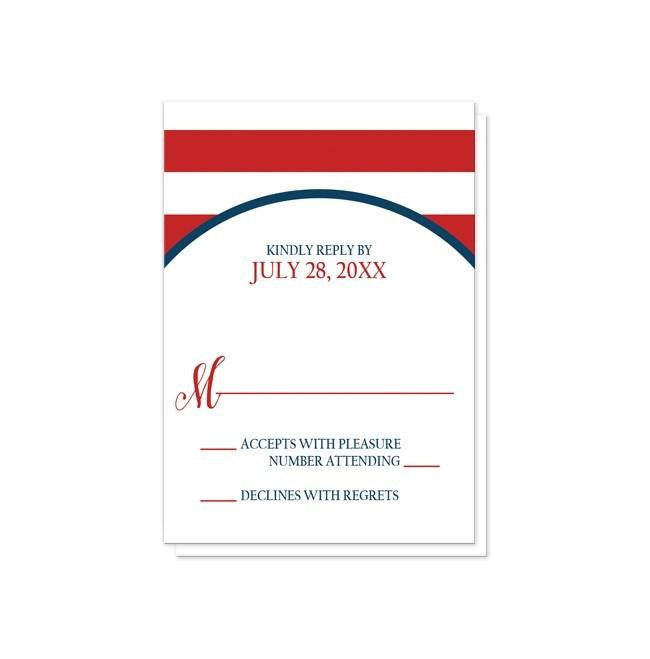 Navy Circle Red Stripe Nautical Reception Only Invitations at  Artistically Invited