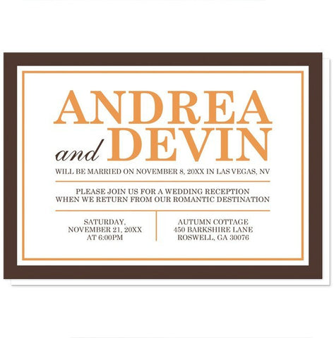 Orange and Brown Autumn Reception Only Invitations - Artistically Invited