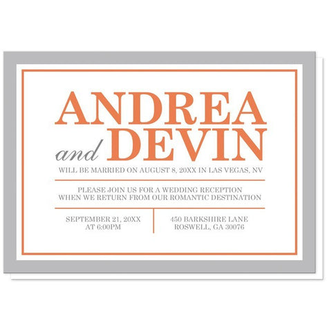 Orange and Gray Reception Only Invitations - Artistically Invited