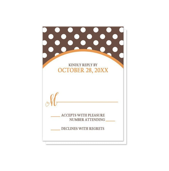 Orange Brown Polka Dot Reception Only Invitations - Artistically Invited