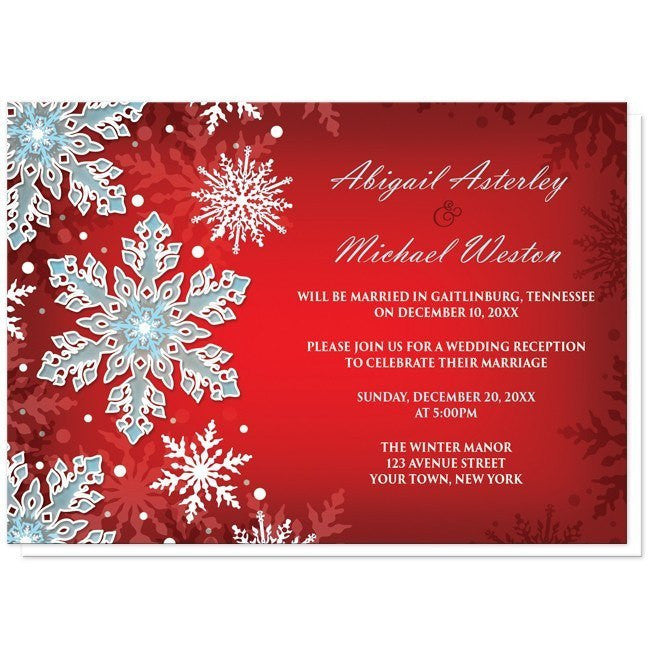 Royal Red White Blue Snowflake Reception Only Invitations Online At