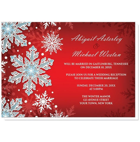 Royal Red White Blue Snowflake Reception Only Invitations - Artistically Invited