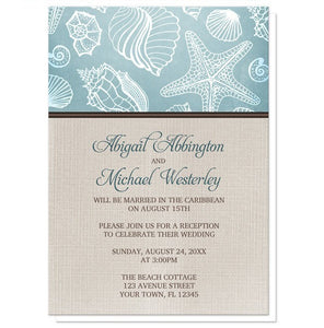 Rustic Beach Linen Reception Only Invitations - Artistically Invited