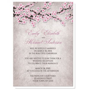 Rustic Cherry Blossom Pink Reception Only Invitations - Artistically Invited