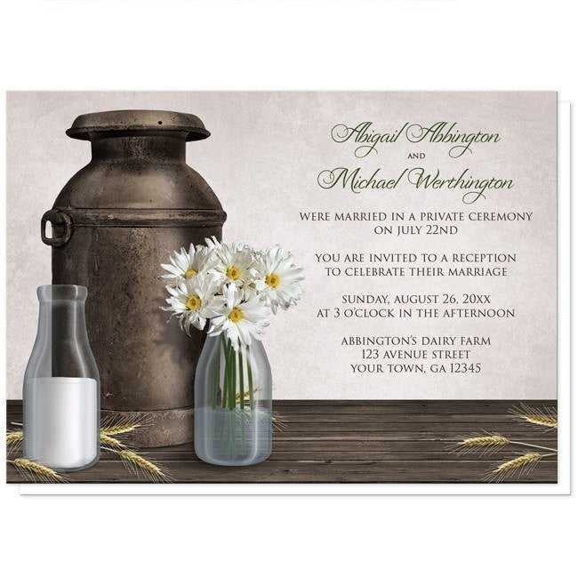 Rustic Country Dairy Farm Reception Only Invitations - Artistically Invited