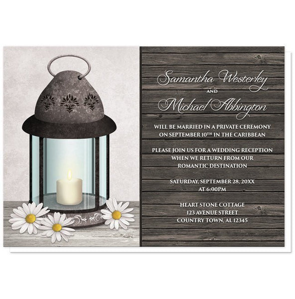 Rustic Daisy Lantern Wood Reception Only Invitations - Artistically Invited