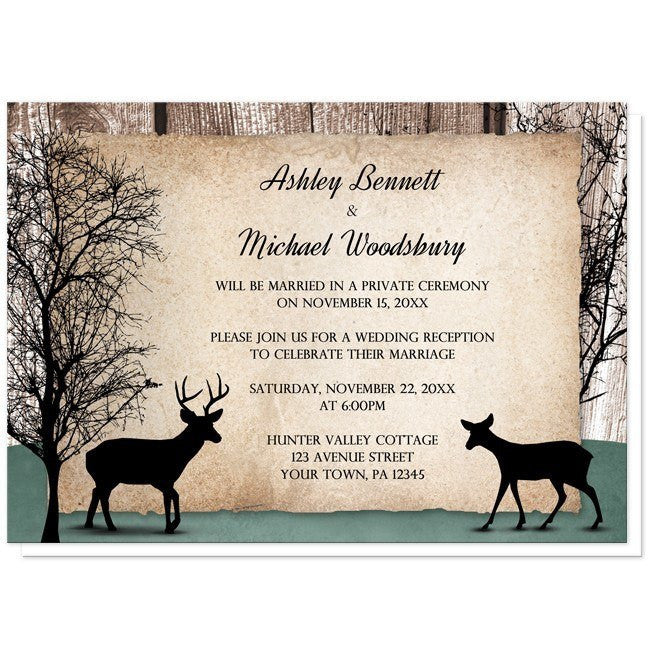 Rustic Woodsy Deer Reception Only Invitations Online At Artistically