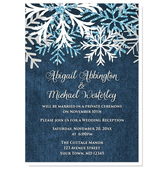 Rustic Snowflake Denim Winter Reception Only Invitations - Artistically Invited