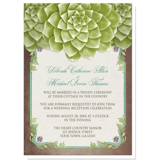 rustic succulent garden reception only invitations at artistically invited - Wedding Reception Only Invitations