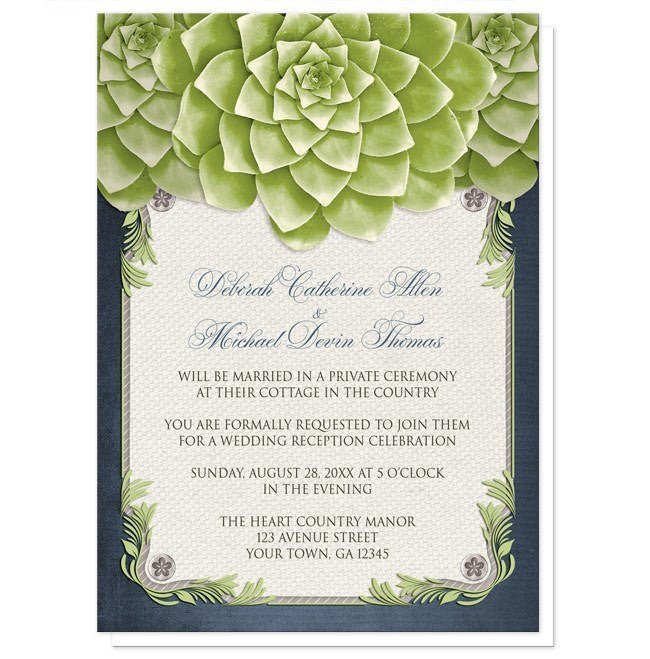 Rustic Succulent Garden Navy Reception Only Invitations - Artistically Invited