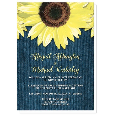 Rustic Sunflower and Denim Reception Only Invitations - Artistically Invited
