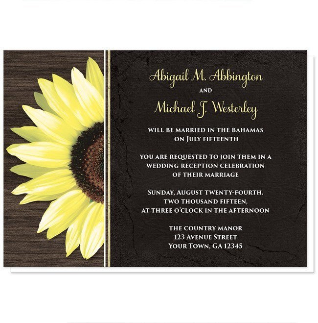 Rustic Sunflower with Black Reception Only Invitations at  Artistically Invited