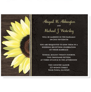 Rustic Sunflower with Black Reception Only Invitations - Artistically Invited