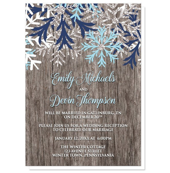 Rustic Winter Wood Navy Aqua Snowflake Reception Only Invitations - Artistically Invited