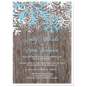 Rustic Winter Wood Snowflake Reception Only Invitations - Artistically Invited