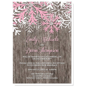 Rustic Winter Wood Snowflake Pink Reception Only Invitations - Artistically Invited