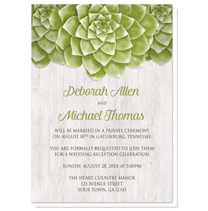 Succulent Whitewashed Wood Reception Only Invitations - Artistically Invited
