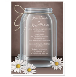 Vintage Rustic Mason Jar Daisy Reception Only Invitations - Artistically Invited