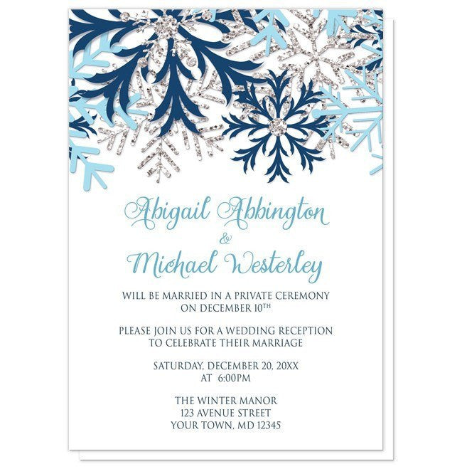 Winter Blue Silver Snowflake Reception Only Invitations