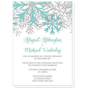 Winter Teal Silver Snowflake Reception Only Invitations - Artistically Invited