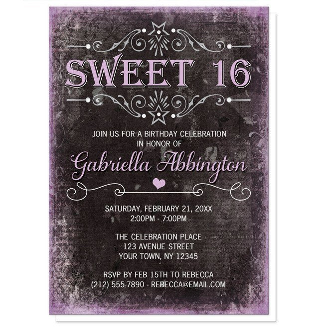 black grunge purple sweet 16 invitations online at artistically invited