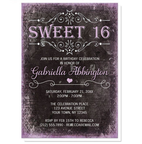 Black Grunge Purple Sweet 16 Invitations - Artistically Invited