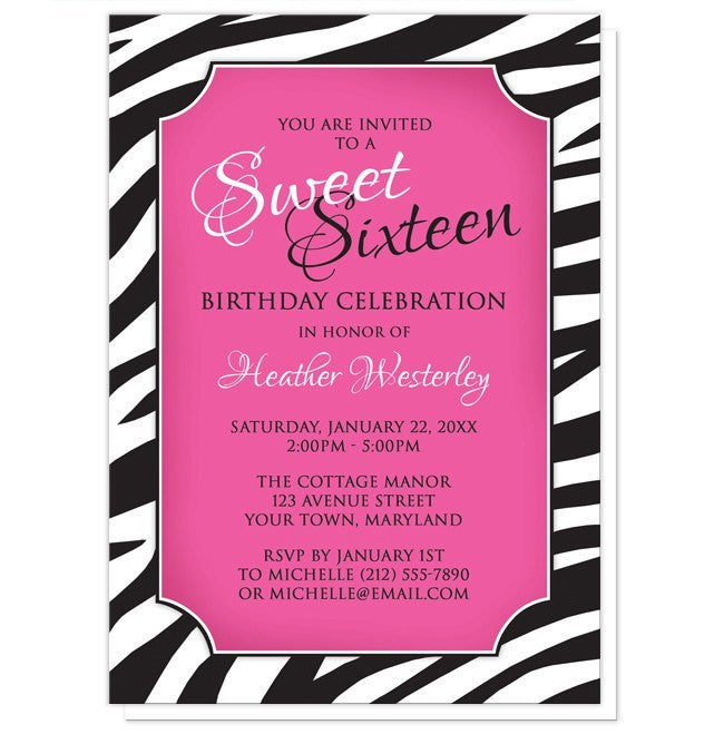 zebra print pink sweet 16 invitations at artistically invited, Birthday invitations