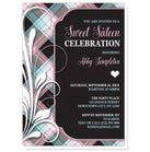 Pink Blue and Black Plaid Flourish Sweet 16 Invitations at  Artistically Invited