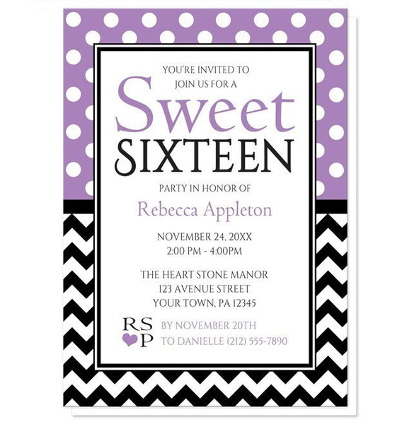 Polka Dot and Chevron Sweet 16 Invitations - Artistically Invited