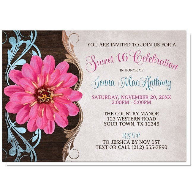 rustic country girl pink zinnia sweet 16 invitations online at