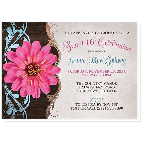 Rustic Country Girl Pink Zinnia Sweet 16 Invitations - Artistically Invited