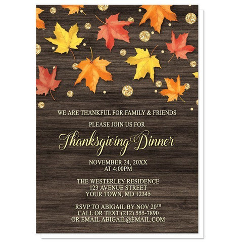 Falling Leaves with Gold Autumn Thanksgiving Invitations - Artistically Invited