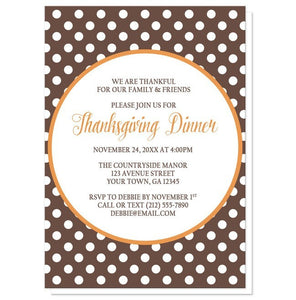 Orange Brown Polka Dot Thanksgiving Invitations - Artistically Invited